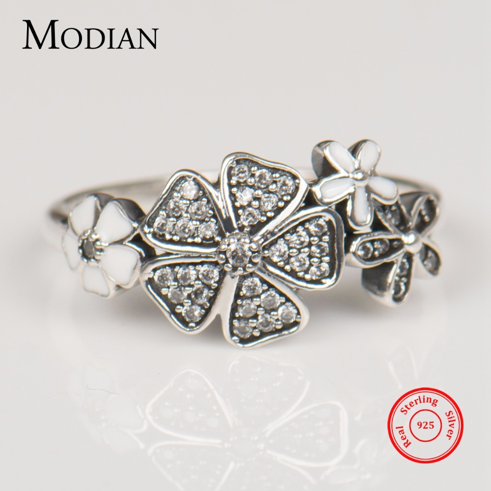 Modian Solid 925 sterling Silver Flower Ring Fashion Daisy Cherry Finger Silver Rings Engagement Wedding Jewelry