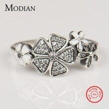 Modian Sólida plata de ley 925 Anillo de la Flor de Moda Margarita Cereza Dedo de Plata Anillos de Compromiso Joyería de La Boda para las mujeres