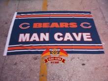 Chicago Bears man cave  Rugby  club flag, soccer Helmet Match fan banner, flag king 90*150CM polyster