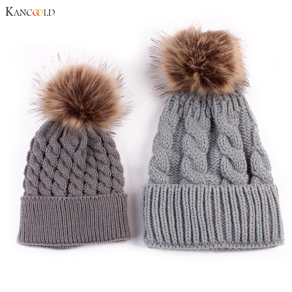 Keep Warm Winter Hat for Women's Wool Hat Knitted Beanies Cap Thick Female Cap Mom And Baby Bat Skullies Beanies Se19