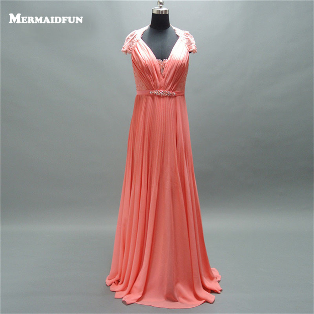 2019 A Line Cap Sleeve V Neck See Through Lace Back Beaded Belt Coral Chiffon Long   Prom     Dresses   for Girls