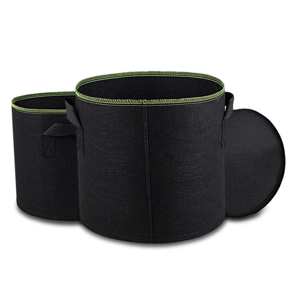 5 unids/set 3/5/7/10 galones de tela de raíz hidropónica Smart Pot Grow Bags jardín planta contenedor Bolsa bolsa de tela transpirable Macetas Adaptador de drenaje de grado alimenticio para tanque de bolsa de agua de 1/2
