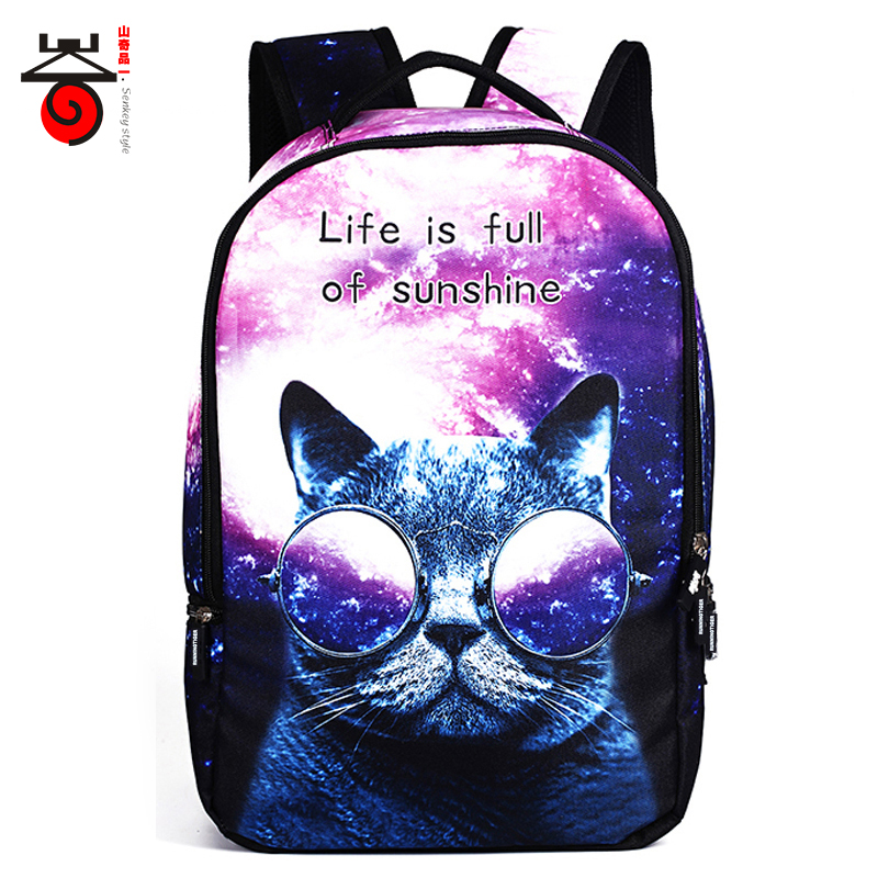 2017 New Fashion 3D Animal Starry sky Cat Student School Bags For Teenagers Men Women Backpacks