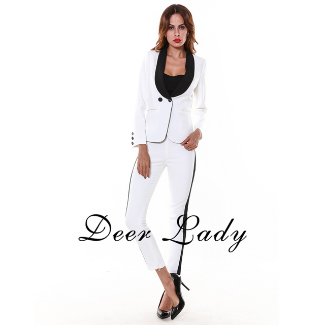 New Arrivals 2016 Fashion Women Suits With Pants And Jackets Office Deep V Neck Jackets And Loose Pants White Wholesale HL