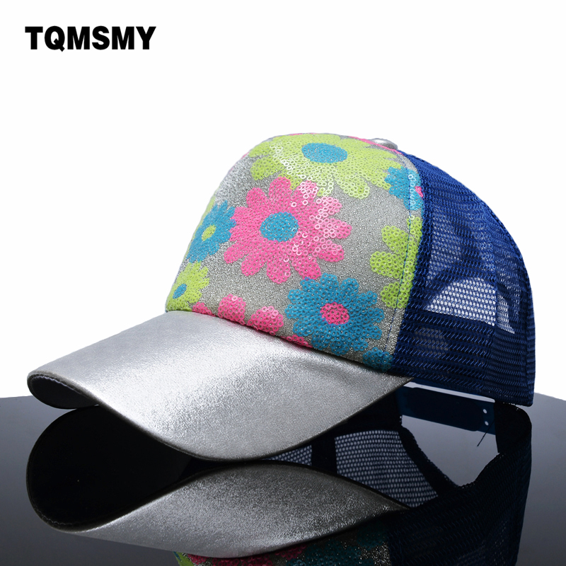 Prix pour Casual filles summber baseball caps femmes fleurs maille chapeau marque snapback cap paillettes brillant os chapeaux pour femmes hip hop casquette