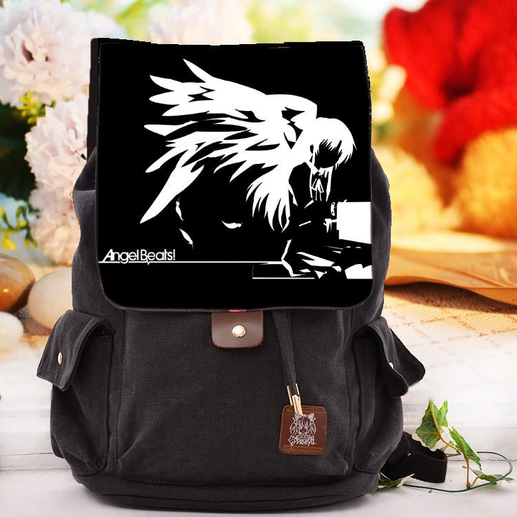 купить Cool Black Canvas Bag Angel Beats Tachibana Kanade Cosplay Backpack Kirishima Bags For Men Women School Bags