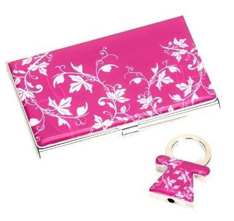 Wholesale High Grade Business Gift Metal Name Card Holder + Metal Keyring Promotional Giveaways Valentine  Gift 20 sets Assorted