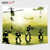 Cutom Tapestry Wall Hanging,War Battle Field Troops Soldiers Landing From Helicopters Weapons Military Print Green