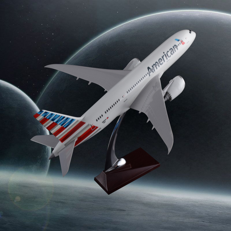 43cm Resin Boeing 787 Airplane Model American Airline Airways B787 Airbus Model Aviation Aircraft Model Travel Souvenir Toy Gift