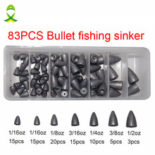 JSM 83pcs Lead Fishing Sinker For Plastic Worm Texas Rig Carp Fishing Bullet Shaped Weights Casting Sinkers Set With Box outkit 10pcs lot copper lead sinker weights 10g 7g 5g 3 5g 1 8g sharped bullet copper fishing accessories fishing tackle