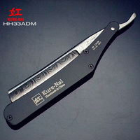 1 X KURE NAI HH33ADM SHAVE READY Stainless Steel Handle DAMASCUS PATTERN Blads Folding Shaving Razor