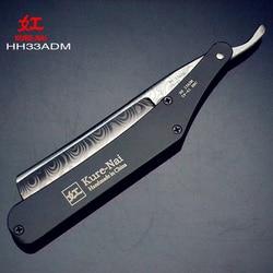 1 × KURE-NAI HH33ADM ، حلاقة جاهزة مقبض من الفولاذ المقاوم للصدأ دمشق نمط Blads للطي الحلاقة الحلاقة شفرة واحدة