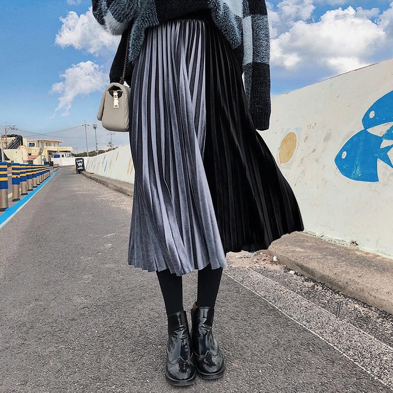 BGTEEVER High Waist Hit Color Pleated Skirts Women Flare Long Skirts Female Velvet Patchwork Casual Bottoms 2019 Femme Saia