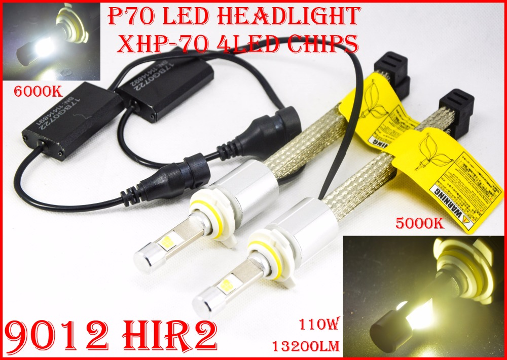 NEW 1 Set 9012 HIR2 110W 13200lm P70 LED Headlight Auto Car Kit XHP-70 Chip Fanless Driving Fog Lamp Bulb H7 H8 H9 H4 55W 6600LM tc x upgrade led car headlight bulb kit h7 80w set h4 hi lo head lamp fog light kit h11 hb3 hb4 led auto front bulbs wholesale