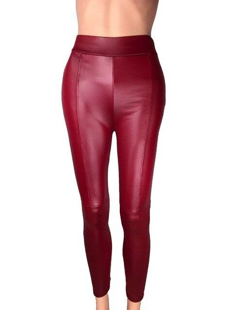 Big Sale ! 2014 New Trend Knitting women's Nine minutes pants Fashion sexy Imitation leather slim PU elastic leggings 2 Colors 6
