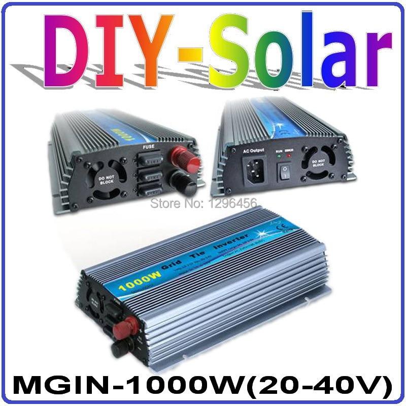 1000W 20 40VDC MPPT Grid tie inverter for 1200W 24V or 30V PV Panels, 110V or 220VAC Pure Sine Wave Output Solar Power Inverter