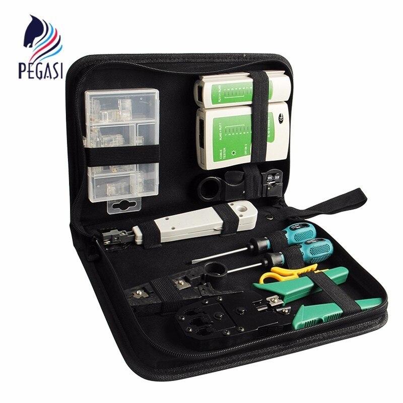 PEGASI 10pcs LAN Network Tool Kit Set Cable Tester Crimper Stripper Optical Fiber Toolkit Networking Installer Tool Web Tool Bag