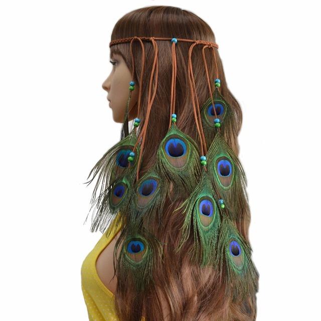 Peacock Feather Hairband for Women Hindu Gypsy Boho Style