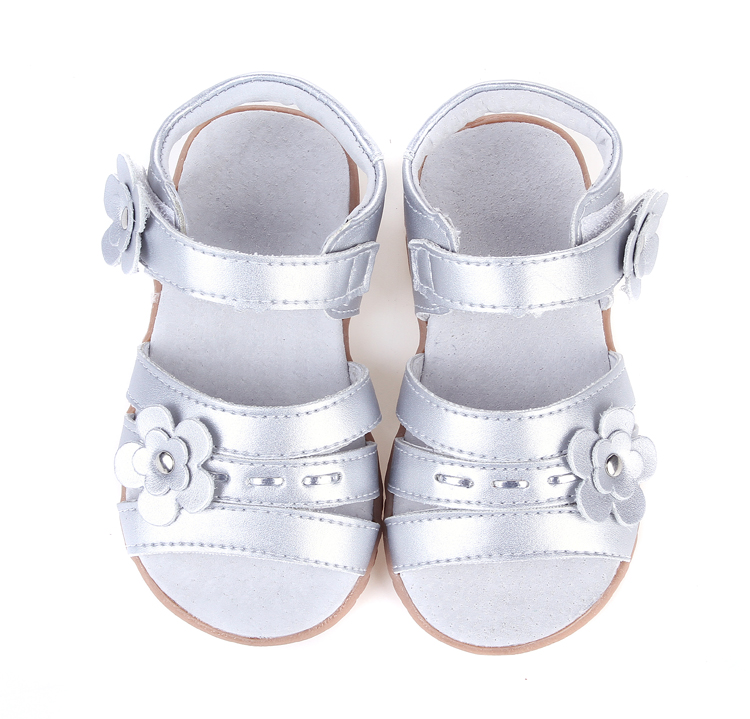 girls soft leather sandal open toe with flowers silver for christenning wedding summer shoes ladies formal retail