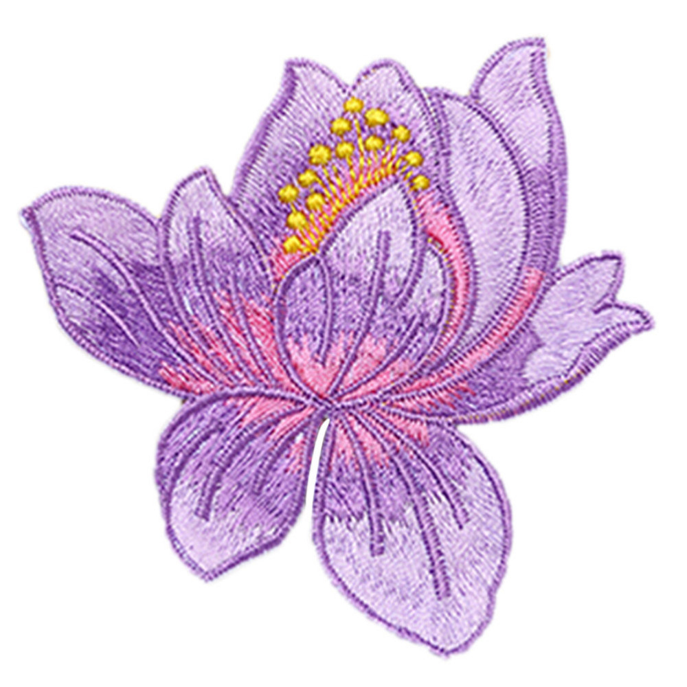 1 pcs lotus flower embroidery patches iron on applique sew on patch 1 pcs lotus flower embroidery patches iron on applique sew on patch craft sewing repair embroidered 8 colors in patches from home garden on aliexpress mightylinksfo
