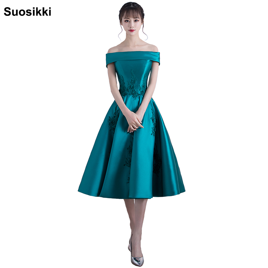 Short   prom     dress   2018 boat neck a line formal evening   dresses   embroidery fata plus size robe de soiree longue