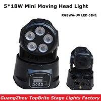 Free Shipping 1Pcs LED Moving Head Mini Wash 5X18W RGBWA UV 6IN1 With DMX 11 15