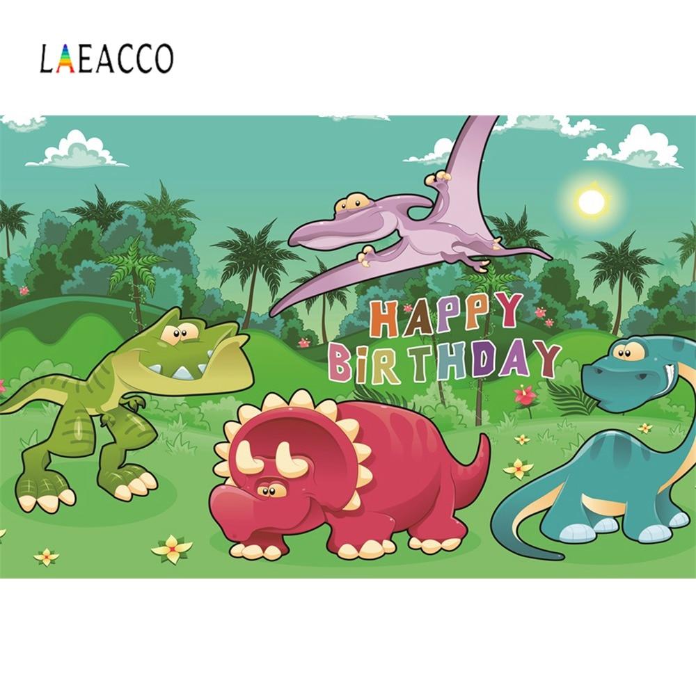 Laeacco Dinosaur Backdrops Photocall Birthday Party Jungle Zoo Cartoon Baby Poster Portrait Photography Backgrounds Photo Studio