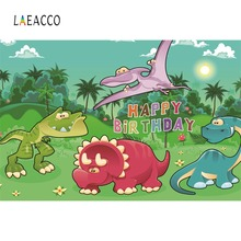 Laeacco Dinosaur Backdrops Photocall Birthday Party Jungle Zoo Cartoon Baby Poster Portrait Photography Backgrounds Photo Studio