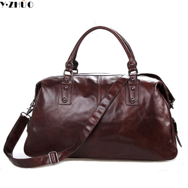 100% really cowhide genuine leather man bags large capacity men travel luggage bag vintage men shoulder crossbody duffel bags