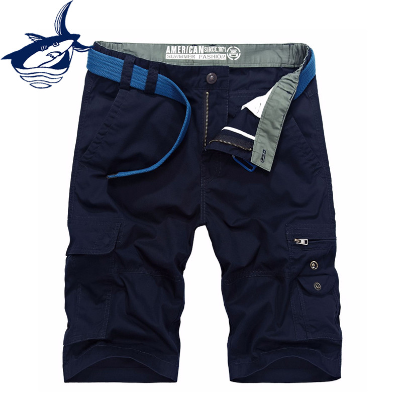 Casual Men Clothing 2018 Tace & Shark Brand Summer Mens Shorts Multi-Pockets Loose Military Cargo Short Homme No Belt
