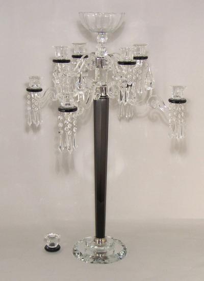 Black crystal candelabra flower bowl crystal candle holde wedding home decoration