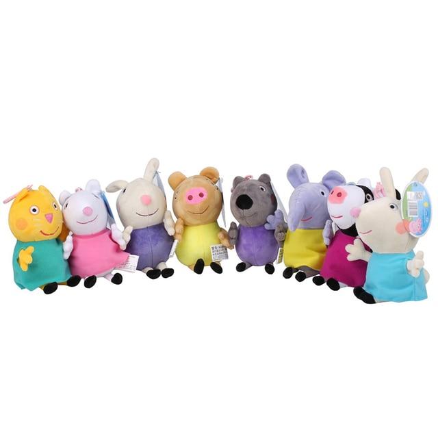 Original 19cm Peppa Pig George Animal Stuffed Plush Toys Cartoon Family Friend Pig Party Dolls For Girl Children Birthday Gifts 3