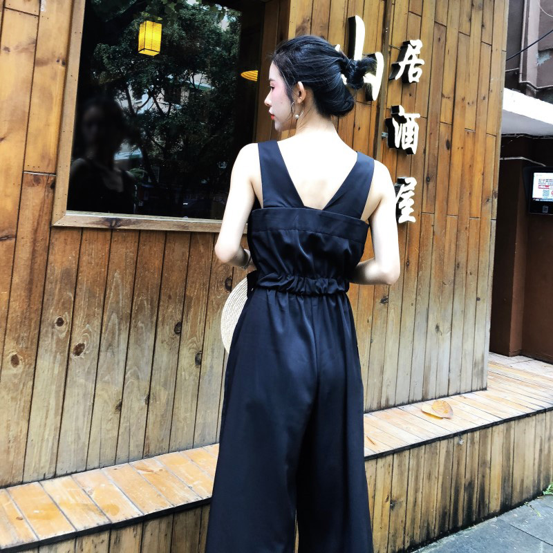 HziriP Sexy Jumpsuit Women Romper 2018 Summer Loose Solid Elegant Party Square Neck Sexy Playsuits Sleeveless Long Pant Overalls 4