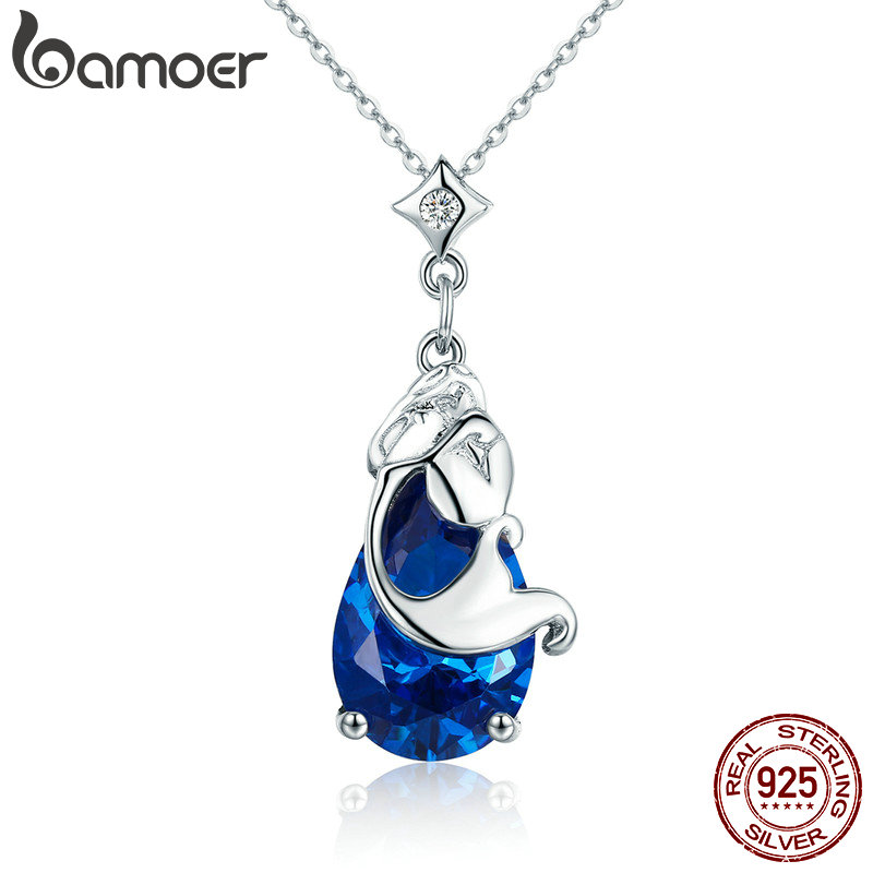 BAMOER Romantic 100% Real 925 Sterling Silver Mermaids Missing Legend Pendant Necklaces for Women Sterling Silver Jewelry SCN255 bamoer real 100