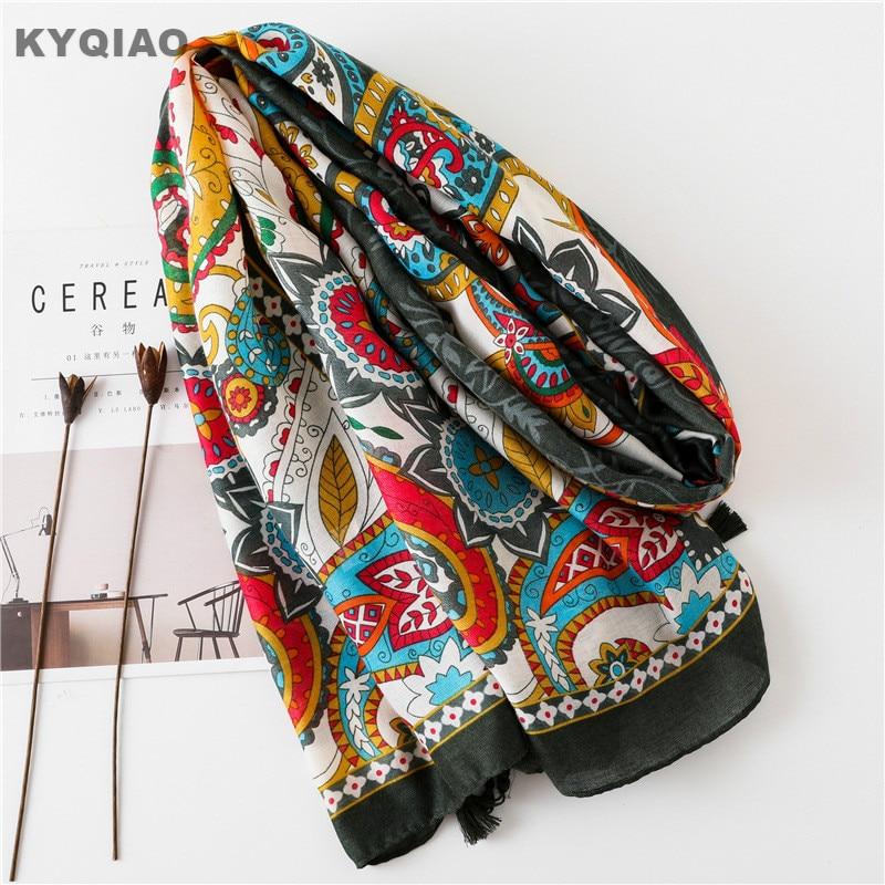 KYQIAO Birthday gifts women autumn winter Mexico style ethnic original long print head scarf 2019 female hippie printed scarf