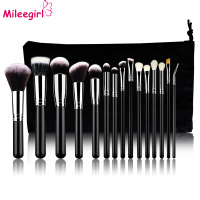 Mileegirl 15Pcs High Quality Makeup Brushes Set Wood Handle Powder Brush Professional Soft Goat Hair Make