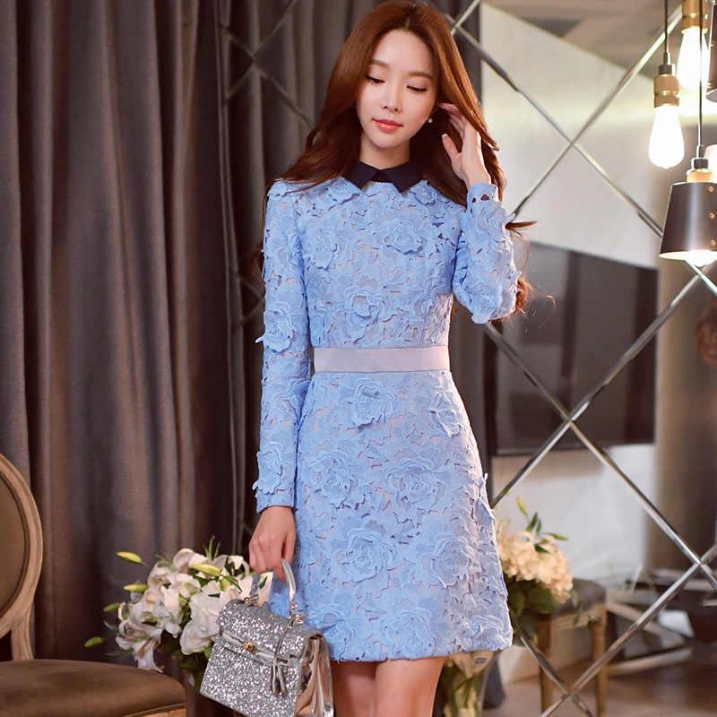 2e58d896fa5 Кружевное платье на осень-зиму Hitz корейский темперамент модные  повседневные с длинными рукавами женские офисные
