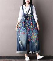 Yesno PF1 Women Overalls Jumpsuits Colorful Floral Print Ripped Hole Distressed 100% Cotton Wide Leg Casual Loose Fit