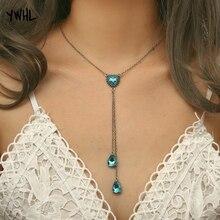 купить YWHL Boho Blue Crystal Long Pendant Necklaces For Women Collar Vintage Choker layered necklace Wedding Party Jewelry по цене 138.59 рублей