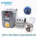2.2KW ER20 DIY шпиндель с водным охлаждением ЧПУ мотор шпинделя 4 подшипника и 2.2kw VFD/инвертор частоты и 80 мм кронштейн шпинделя зажим - фото