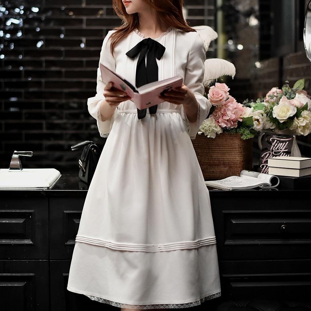 Dabuwawa Women Flare Sleeve Chiffon Dress New White Bow Long Midi dress Preppy Korean Style Party Dress