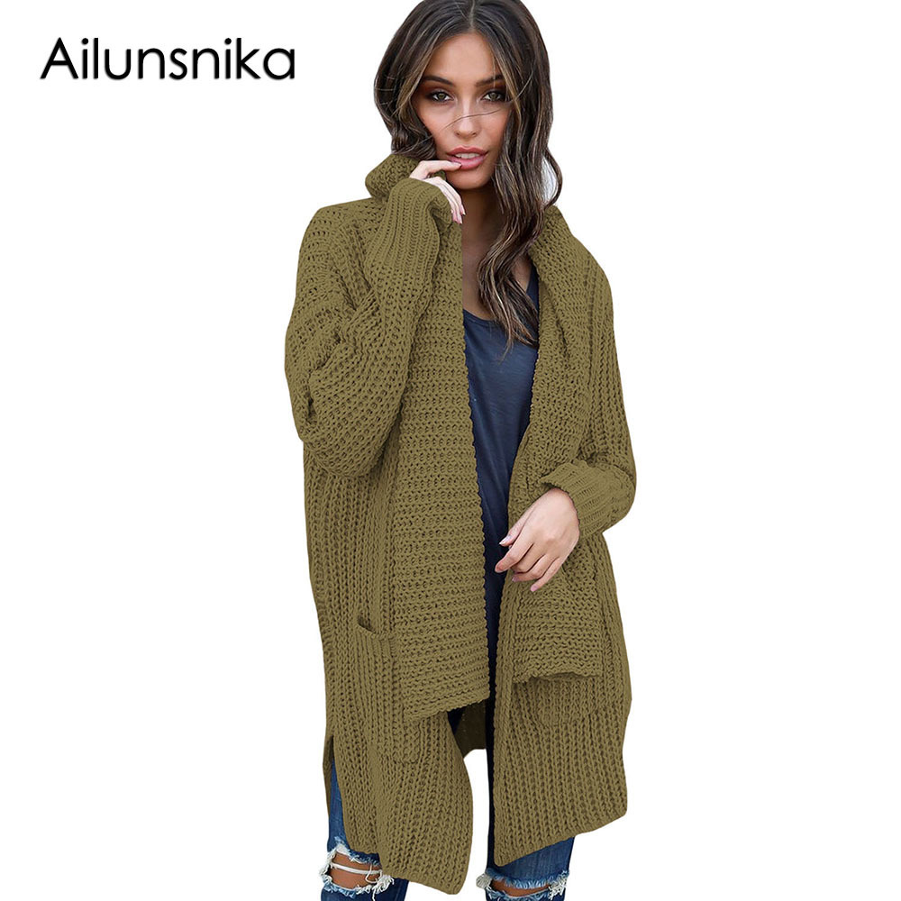 Ailunsnika Winter Open Front Cardigans Women Long Sleeve Knitted Sweater Overcoat Female Knitwear Christmas Sweater With Pocket