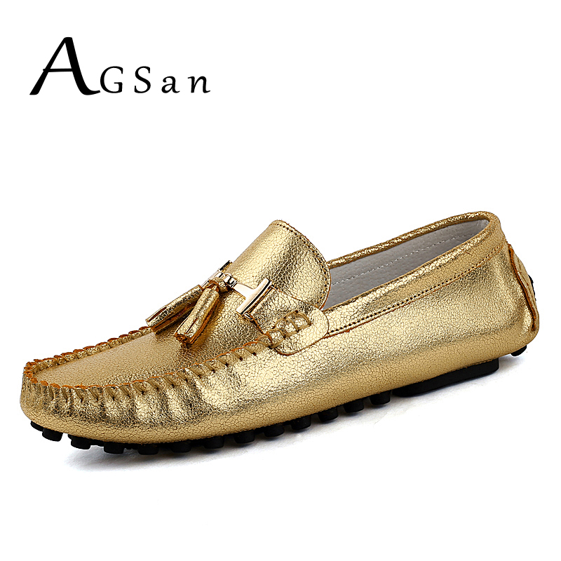 где купить AGSan designer gold silver men loafers genuine leather fashion driving shoes 2017 autumn tassel moccasins slip on flats по лучшей цене
