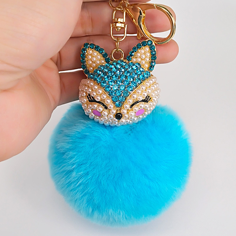 8Color Best Cool Puff Ball KeyChains Cute Fox Key Chains Kids Womens Personalised Rings Key Chains Car Bag  Key Chains 1