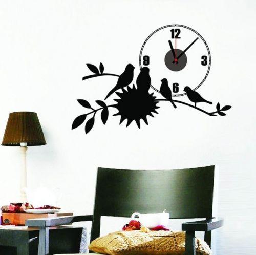 Black Bird Nest Home Decor Wall Clock Wall Decal Sticker Real Clock 73*50CM