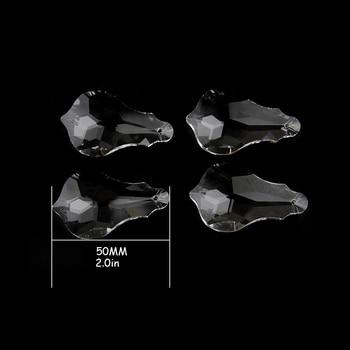 10pcs 50-76mm Clear Crystal Lighting Accessories Glass Chandelier Prism Pendant Drop Suncatchers For Wedding Chains Decor 10pcs 6pcs 38mm 100mm clear crystal prism maple leaf glass crystal chandelier pendant party wedding decoration