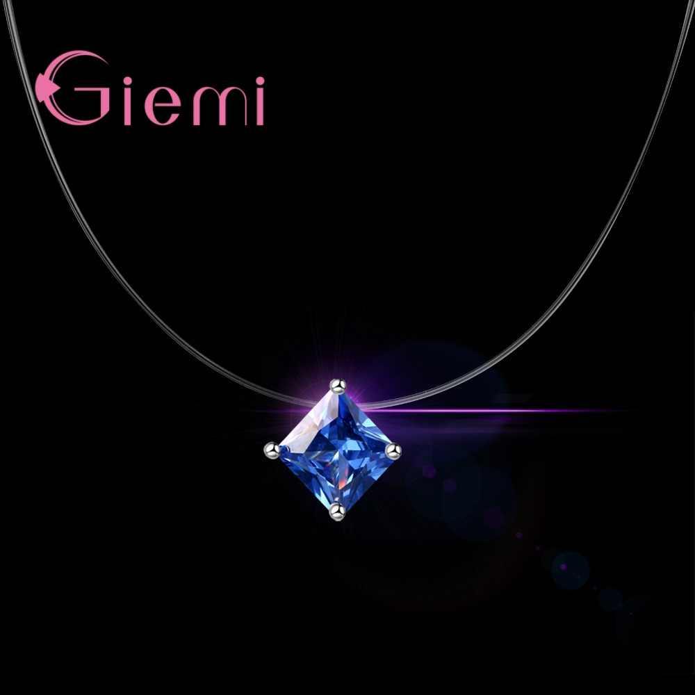 """Bijoux en gros 925 en argent Sterling coeur colliers pendentif carré grand zircon cubique CZ 18 """"chaîne collier accessoires"""