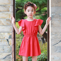 Kids 2017 Summer New Girls Dress 100 Cotton Flounced Red Dress 2 4 6 8 10