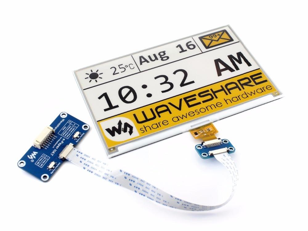 7.5inch e-Paper HAT (C) 640x384 E-ink Display Module Three-color SPI interface compatible with Raspberry Pi 3B/3B+/Zero/Zero W