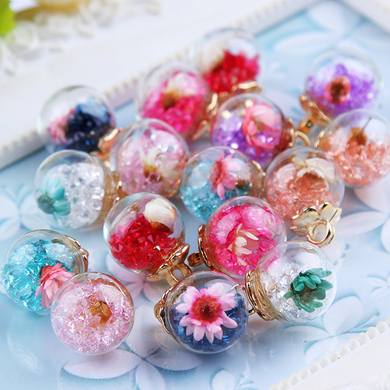 10pcs/pack 17mm Crystal With Flower Glass Ball Charms Pendant fit Bracelet Necklace Hair Jewelry Accessories DIY Craft